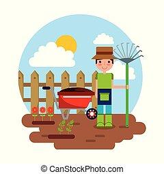 tuinieren, tuinieren hark, karakter, thema, kruiwagen, bloemen, tuinman