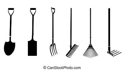 tuinieren, vector, gereedschap