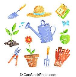 tuinieren, vector, items, set, iconen