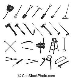 tuinieren, -, verzameling, vector, silhouette, gereedschap