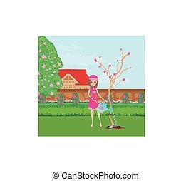 tuinman, mooi, boompje, planten