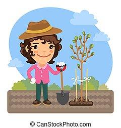 tuinman, planten, boompje, spotprent