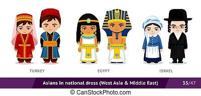 turkije, egypte, ethnische , israel., nationale, costume., set, traditionele , dress., aziatische mensen, mannen, vervelend, vrouwen