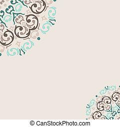 turkoois, abstract, vector, hoek, grens, frame