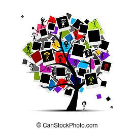 tussenvoegsel, afbeelding, geheugens, boompje, jouw, foto lijst in, ontwerp