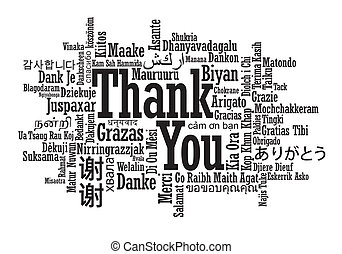 u, meertalig, woord, danken, wolk