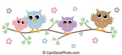 uilen, boompje, kleurrijke