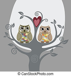 uilen, liefde, twee, boompje
