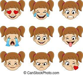 uitdrukkingen, gezicht, meisje, emoji