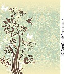 uitnodiging, boompje, abstract, retro, kaart, floral, sierlijk, ontwerp, ouderwetse , elegant