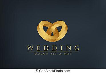 uitnodiging, ringen, creatief, ontwerp, trouwfeest, logo, template., kaart