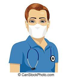 uitputtend masker, jonge, operatieassistente, mannelijke , antiviral