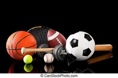 uitrusting, geassorteerd, black , sporten