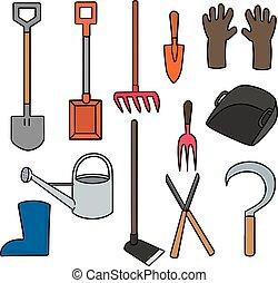 uitrusting, set, vector, tuinieren
