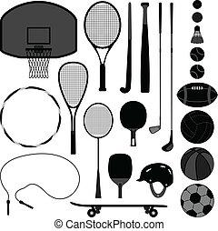 uitrusting, werktuig, sportende, bal