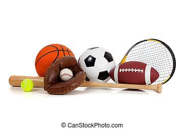 uitrusting, witte , geassorteerd, sporten