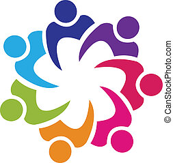 unie, logo, vector, teamwork, mensen