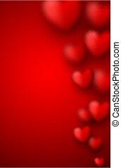vaag, valentine's dag, rode achtergrond, hearts.