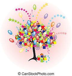 vakantie, feestje, baloons, gebeurtenis, spotprent, boompje, vrolijke , giftes, dozen