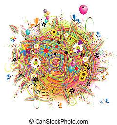 vakantie, gekke , ballons, kaart, vrolijke