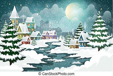 vakantie, kerstmis, dorp
