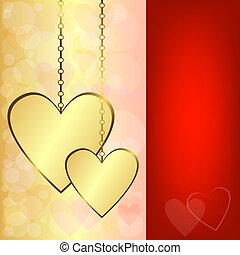 valentijn, goud, achtergrond, hartjes