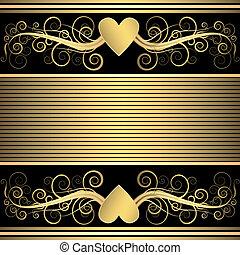 valentijn, gouden, zwarte achtergrond