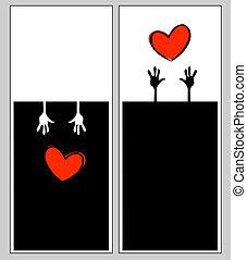 valentijn, informatieboekje , vector, mal, kaarten, dag