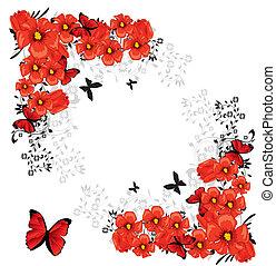 valentijn, rode kaart, floral