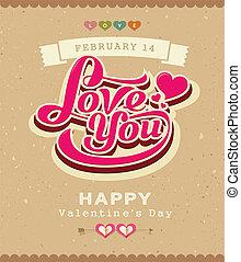 valentijn, spandoek, boodschap, classieke
