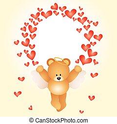 valentijn, teddy, kaart, beer