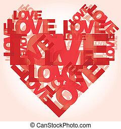 valentijnshart, liefde, woorden