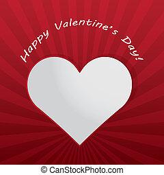 valentijnshart, stralen, dag, licht