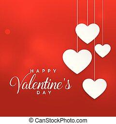 valentine, achtergrond, hangend, hartjes, witte , dag, rood