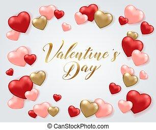 valentine, heilige, begroetende kaart, dag