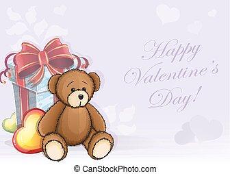 valentine kaart, beer, teddy