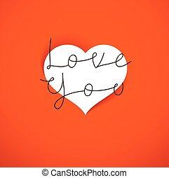 valentine kaart, ontwerp, u, groet, dag, vector, heilige, liefde, concept, heart.