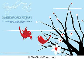 valentine kaart, vogels