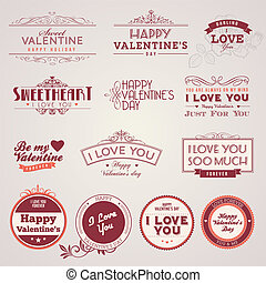 valentine, ouderwetse , dag, etiketten