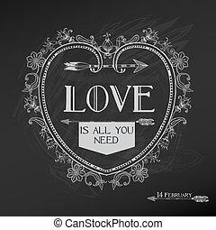 valentine, ouderwetse , -, liefde, vector, ontwerp, huwelijksdag, kaart