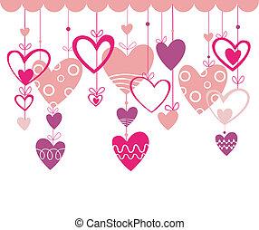 valentines, achtergrond, horen, dag