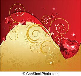 valentine's dag, achtergrond, gouden
