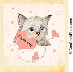valentines, groet, katje, hartjes, dag, kaart