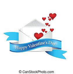 valentines, illustratie, ontwerp, mail., dag, vrolijke