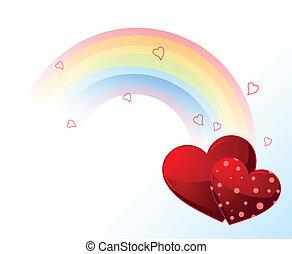 valentines, regenboog, dag