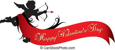 valentines, spandoek, dag, vrolijke