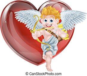 valentines, spotprent, cupido, dag