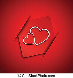 valentines, twee, vector, hartjes, dag, kaart