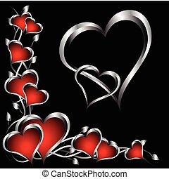 valentines, zilver, achtergrond, hartjes, dag, rood