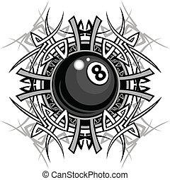 van een stam, grafisch, acht, biljart, bal
